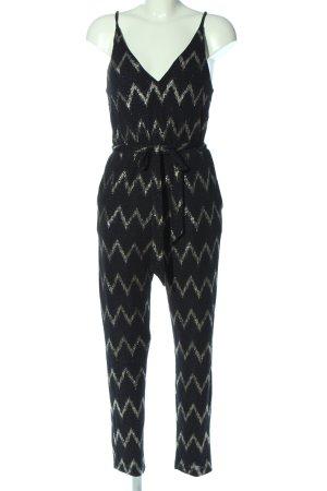 Topshop Langer Jumpsuit nero-oro stampa integrale elegante