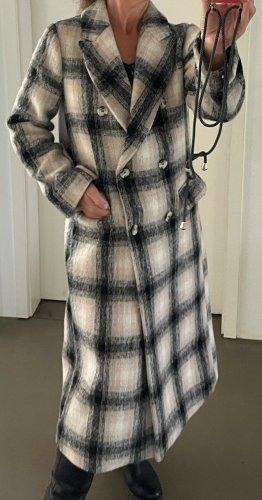 * TOPSHOP * langer WINTER MANTEL zweireihig Polyester Wolle grau schwarz  Gr M 38beige