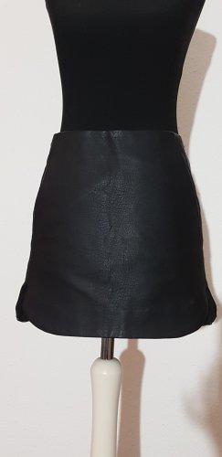Topshop Falda de cuero negro