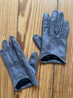 Topshop Leather Gloves silver-colored leather