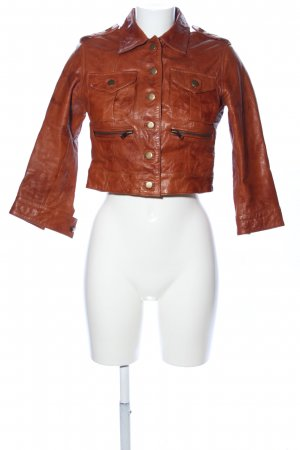 Topshop Leather Jacket brown casual look