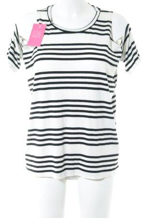 Topshop Longsleeve weiß-schwarz Streifenmuster Casual-Look
