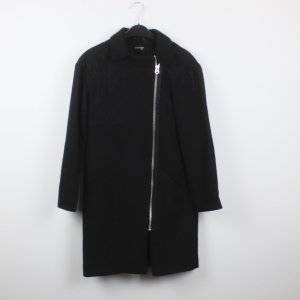 Topshop Abrigo de invierno negro tejido mezclado