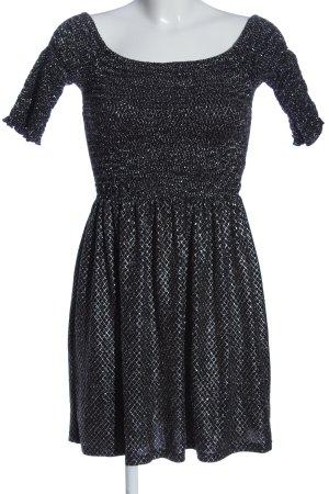 Topshop Minikleid schwarz-silberfarben Webmuster Casual-Look