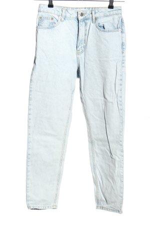 Topshop Mom-Jeans weiß-blau Casual-Look
