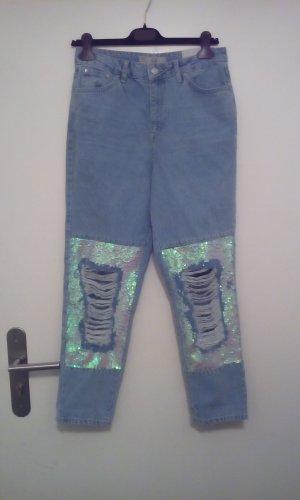 Topshop Moto MOM Jeans mit Pailletten neu