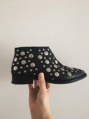 Topshop Botas de tobillo negro-color plata