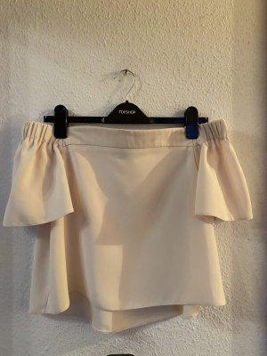 Topshop Off Shoulder Bluse Schulterfrei 38 UK10 Nude Creme Beige Oberteil Top Shirt