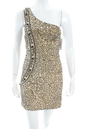 Topshop One-Shoulder-Kleid creme-schwarz abstraktes Muster Party-Look