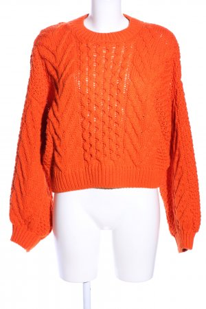 Topshop Oversized Pullover hellorange Zopfmuster Casual-Look