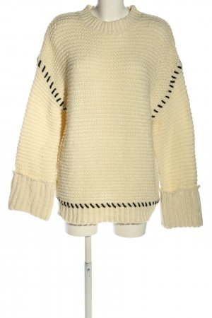 Topshop Oversized Pullover wollweiß-schwarz Casual-Look
