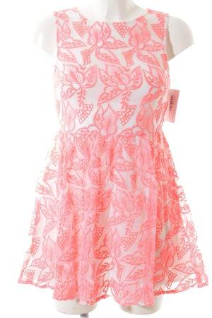 Topshop Petite A-Linien Kleid neonpink-weiß Stickereiverzierung