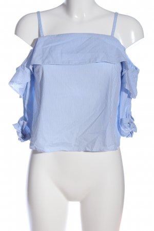 Topshop Petite Carmen-Bluse blau-weiß Allover-Druck Casual-Look