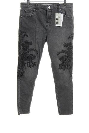Topshop Petite Hoge taille jeans lichtgrijs-zwart casual uitstraling
