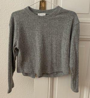 Topshop Petite Cropped shirt grijs