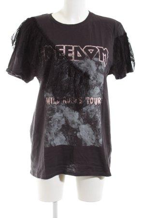 Topshop Print-Shirt schwarz-pink Motivdruck Casual-Look