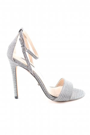 Topshop Strapped High-Heeled Sandals silver-colored striped pattern elegant