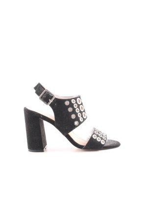 Topshop Riemchen-Sandaletten schwarz-silberfarben extravaganter Stil