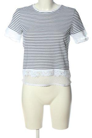 Topshop Ringelshirt weiß-schwarz Allover-Druck Casual-Look