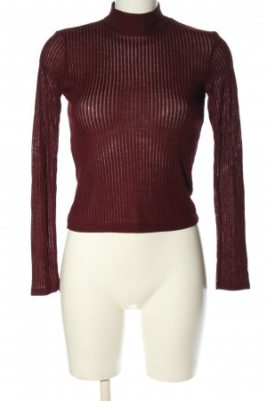 Topshop Rippshirt rot Streifenmuster Casual-Look