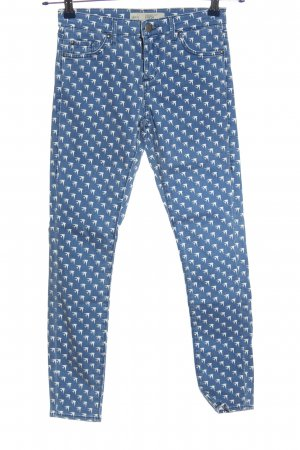 Topshop Drainpipe Trousers blue-white allover print casual look