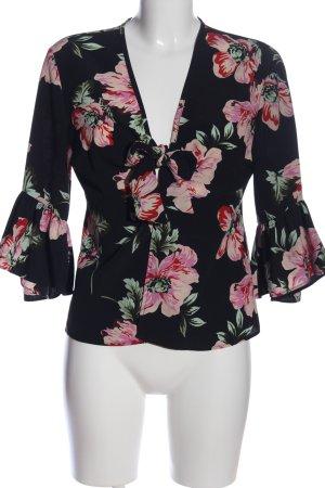 Topshop Rüschen-Bluse schwarz-pink Blumenmuster Casual-Look