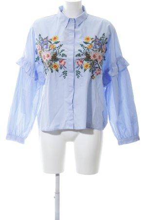 Topshop Rüschen-Bluse blau Business-Look