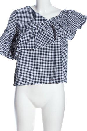 Topshop Rüschen-Bluse weiß-schwarz Karomuster Casual-Look