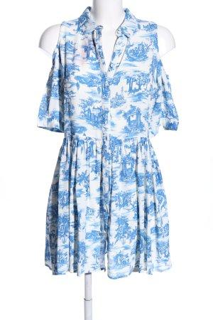 Topshop Rüschen-Bluse blau-weiß Motivdruck Casual-Look