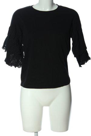 Topshop Rüschen-Bluse schwarz Casual-Look
