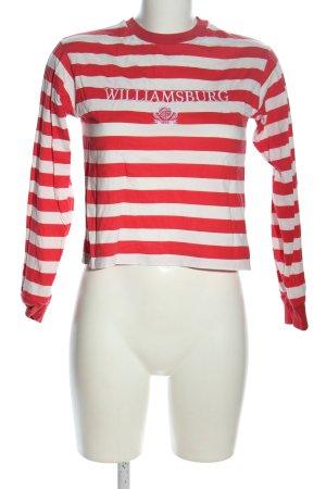 Topshop Rundhalspullover rot-weiß Motivdruck Casual-Look