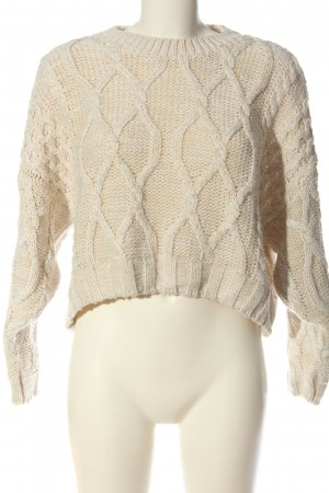 Topshop Rundhalspullover creme Zopfmuster Casual-Look
