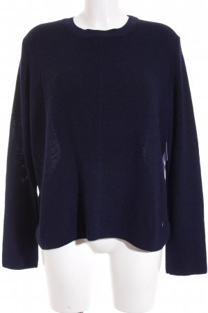 Topshop Rundhalspullover dunkelblau-weiß Casual-Look