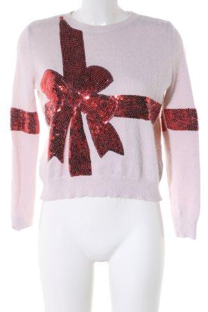 Topshop Rundhalspullover pink-rot Motivdruck Casual-Look