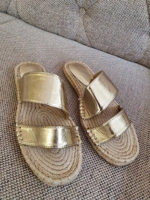 Topshop sandalen Pantoletten neu gr. 38 Gold beige nude Sandaletten schlappen latschen