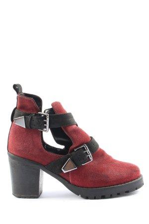 Topshop Schlüpf-Stiefeletten rot-schwarz Casual-Look