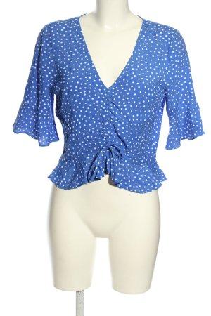 Topshop Schlupf-Bluse blau-weiß Allover-Druck klassischer Stil