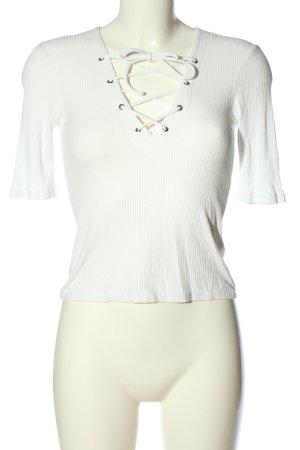 Topshop Schlupf-Bluse weiß Streifenmuster Casual-Look