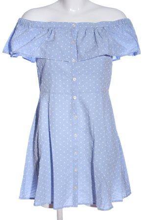 Topshop schulterfreies Kleid blau Punktemuster Casual-Look