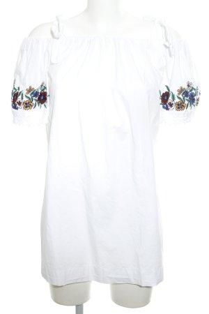 Topshop schulterfreies Kleid weiß Blumenmuster Casual-Look