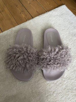 Topshop Shearling Flieder Lila Flip Flops Zara Slider Slipper Top Sandalen