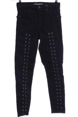 Topshop Skinny Jeans schwarz-silberfarben Casual-Look