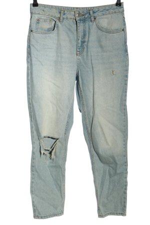 Topshop Slim Jeans blassblau Destroy-Optik
