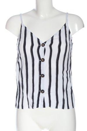 Topshop Spaghettiträger Top weiß-schwarz Streifenmuster Casual-Look