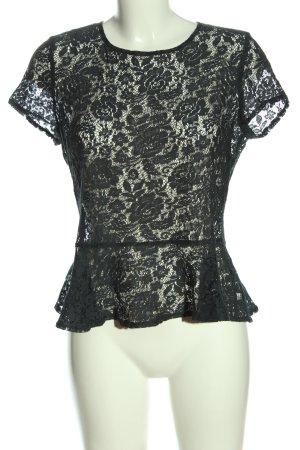 Topshop Kanten blouse zwart Webpatroon casual uitstraling