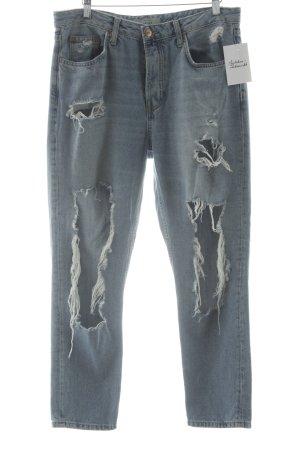 Topshop Straight-Leg Jeans himmelblau-wollweiß Destroy-Optik
