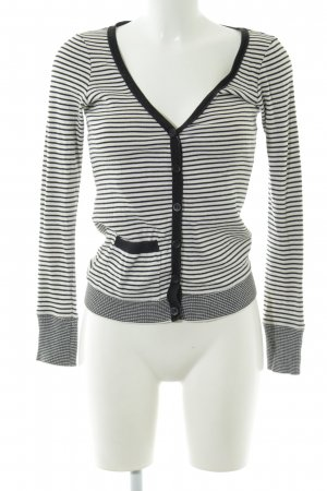 Topshop Strickjacke weiß-schwarz Streifenmuster Casual-Look