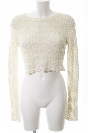 Topshop Strickpullover wollweiß Zopfmuster Casual-Look
