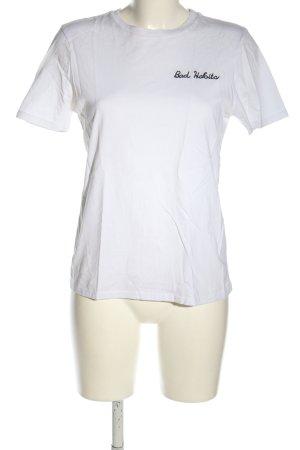 Topshop T-Shirt weiß-schwarz Schriftzug gestickt Casual-Look