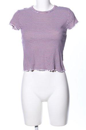 Topshop T-shirt violet-blanc motif rayé style décontracté
